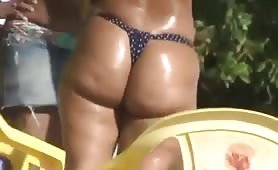 Thong bikini on fat ass